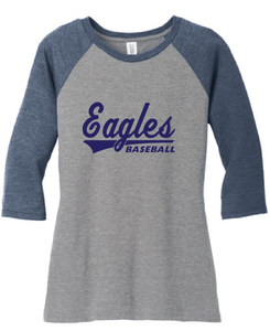 Ladies Tri-blend 3/4-Sleeve Raglan / Navy & Gray Frost / IMS Baseball - Fidgety
