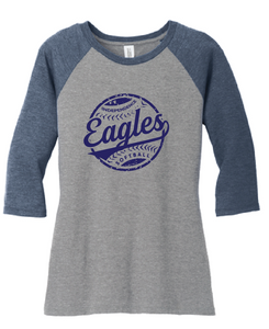 Ladies Tri-blend 3/4-Sleeve Raglan / Navy & Gray Frost / IMS Softball - Fidgety