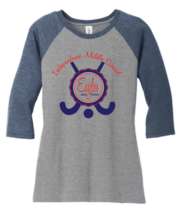Ladies Tri-blend 3/4-Sleeve Raglan / Navy & Gray Frost / IMS Field Hockey - Fidgety