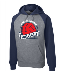 Fleece Colorblock Hooded Sweatshirt / Navy & Vintage Heather / Independence Volleyball