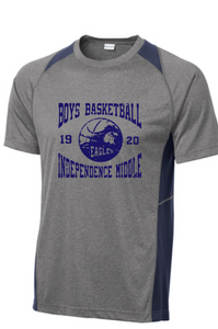 Colorblock Performance Short Sleeve Tee / Vintage Heather & Navy / Independence Boys Basketball