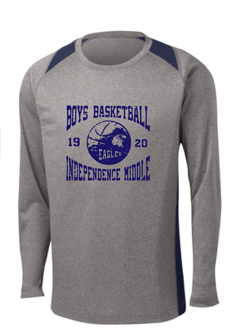 Performance Colorblock Long Sleeve Contender Tee / Vintage Heather and Navy / Independence Boys Basketball