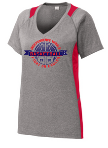 Ladies Heather Performance V-Neck Tee/ Heather Gray & Red / Independence Girls Basketball