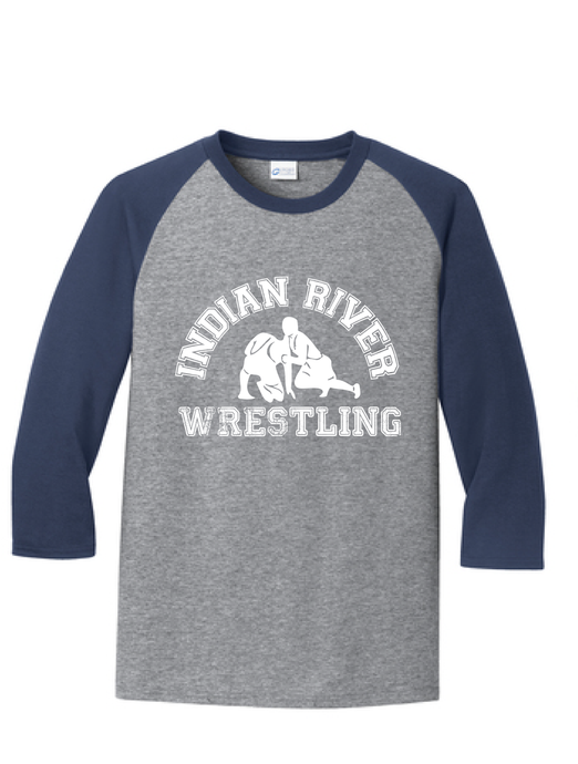 Core Blend 3/4-Sleeve Raglan Tee /Athletic Heather & Navy / Indian River Wrestling - Fidgety