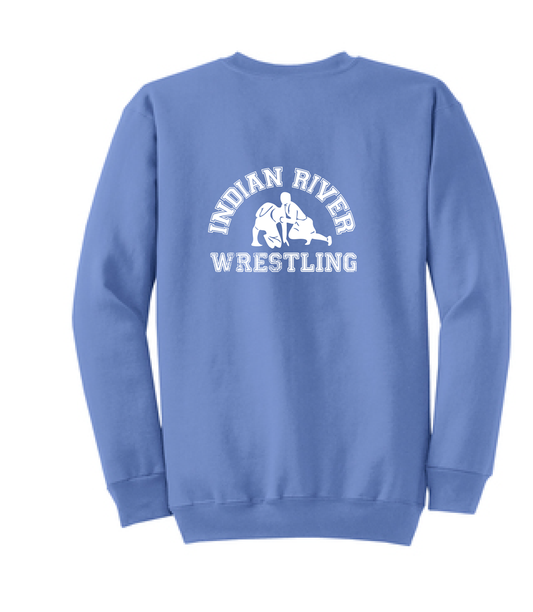Crew neck Sweatshirt / Carolina Blue / Indian River Wrestling - Fidgety