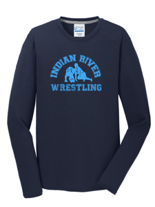 Cotton Long Sleeve Shirt / Navy / Indian River Wrestling - Fidgety