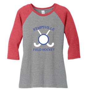 Women's Triblend 3/4-Sleeve Raglan / Red & Gray Frost / Kempsville Field Hockey - Fidgety