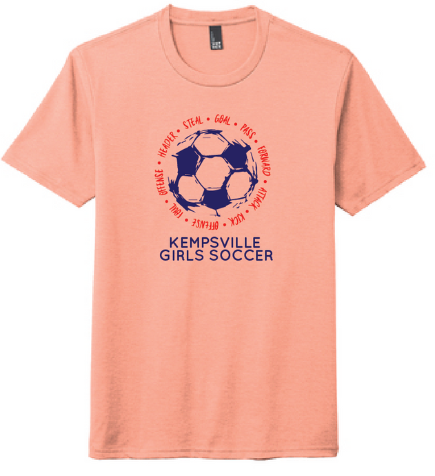 Triblend Crew T-Shirt / Heathered Dusty Peach / Kempsville Soccer - Fidgety