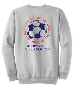 Fleece Crew neck Sweatshirt (Youth & Adult)/ Ash Grey / Kempsville Soccer - Fidgety