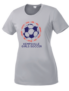Ladies Performance Scoop Tee / Silver / Kempsville Soccer - Fidgety