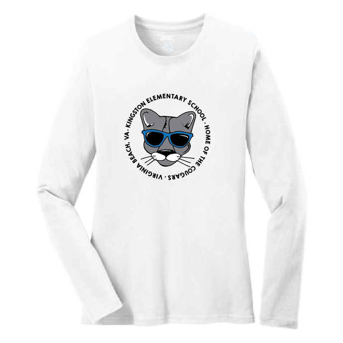 Long Sleeve Cotton T-Shirt (Youth & Adult) / White / Kingston - Fidgety