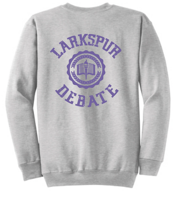 Fleece Crewneck Sweatshirt (Youth & Adult) / Athletic Heather Grey / Larkspur Debate