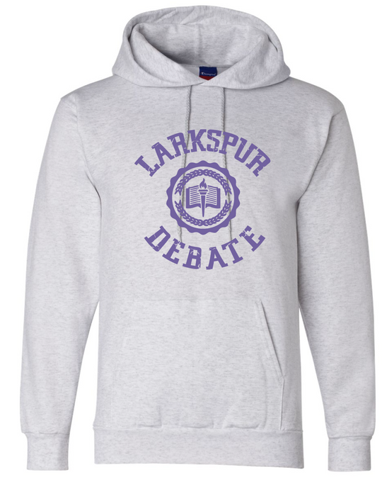 Fleece Hooded Sweatshirt (Youth & Adult) / Ash Grey / Larkspur Debate