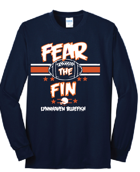 FEAR THE FIN Long Sleeve Shirt / Heather Navy / LMS Football - Fidgety