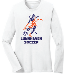 Lynnhaven Soccer Long Sleeve Cotton Tee / White / LMS Boys Soccer - Fidgety
