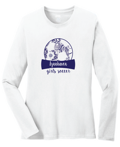 Lynnhaven Soccer Long Sleeve Cotton Tee / White / LMS Girls Soccer - Fidgety