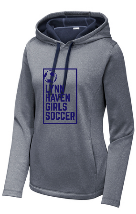 Ladies PosiCharge Wicking Fleece Hooded Pullover/ True Navy Heather / Lynnhaven Girls Soccer - Fidgety