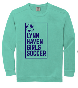 Comfort Colors Ring Spun Crewneck Sweatshirt / Chalky Mint / Lynnhaven Girls Soccer - Fidgety