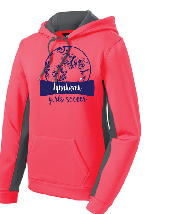 Soccer Ball Performance Fleece Hooded Pullover / Hot Coral / LMS Girls Soccer - Fidgety