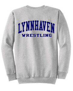 Fleece Crewneck Sweatshirt (Youth & Adult) / Ash Gray / Lynnhaven Middle Wrestling