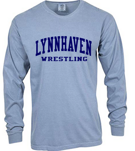 Comfort Colors Heavyweight Ring Spun Long Sleeve Tee / Ice Blue / Lynnhaven Middle Wrestling