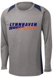 Performance Dri-Fit Long Sleeve/ Vintage Heather and Navy / Lynnhaven Middle Wrestling