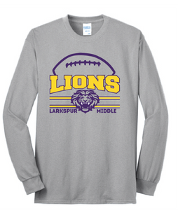 LIONS Long Sleeve T-Shirt / Ash Gray / Larkspur Football - Fidgety