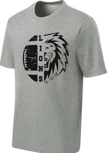 Lions Football Performance T-Shirt / Heather Gray / Larkspur Football - Fidgety