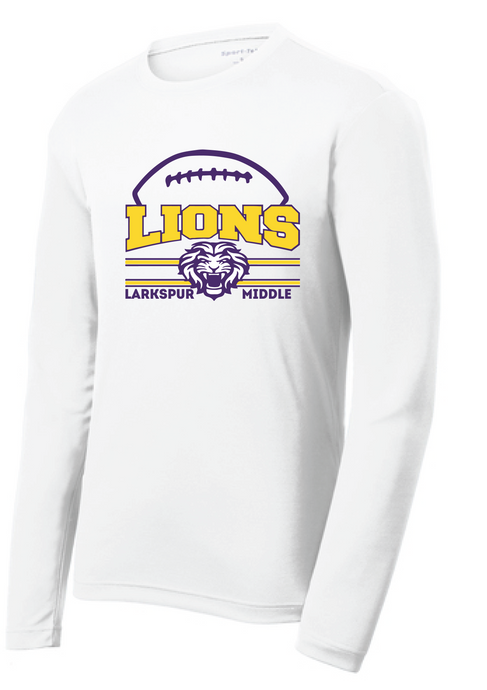 Performance Long Sleeve Dri-Fit T-Shirt / White / Larkspur Football - Fidgety