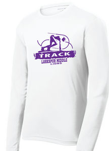Long Sleeve Performance Tee / White / Larkspur Track - Fidgety