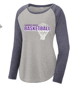 Long Sleeve Tri-Blend Scoop Neck Raglan Tee / Heather Gray & Navy  / Larkspur Girls Basketball