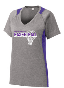 Heather Colorblock V-Neck Tee / Vintage Heather & Purple / Larkspur Girls Basketball