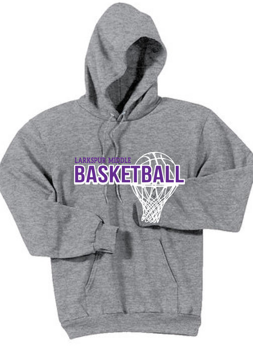Fleece Hooded Sweatshirt / Heather Gray / Larkspur Girls Basketball