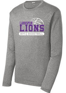 Long Sleeve Heather Colorblock Performance Tee / Vintage Heather and Purple / Larkspur Boys Basketball