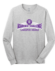 Long Sleeve Cotton t-shirt / Athletic Gray / Larkspur Academic Challenge
