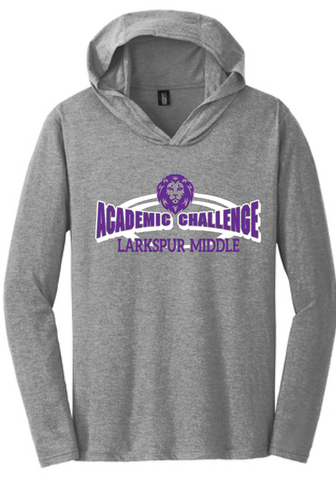 Tri-Blend Long Sleeve T-Shirt Hoody / Heather Gray / Larkspur Academic Challenge