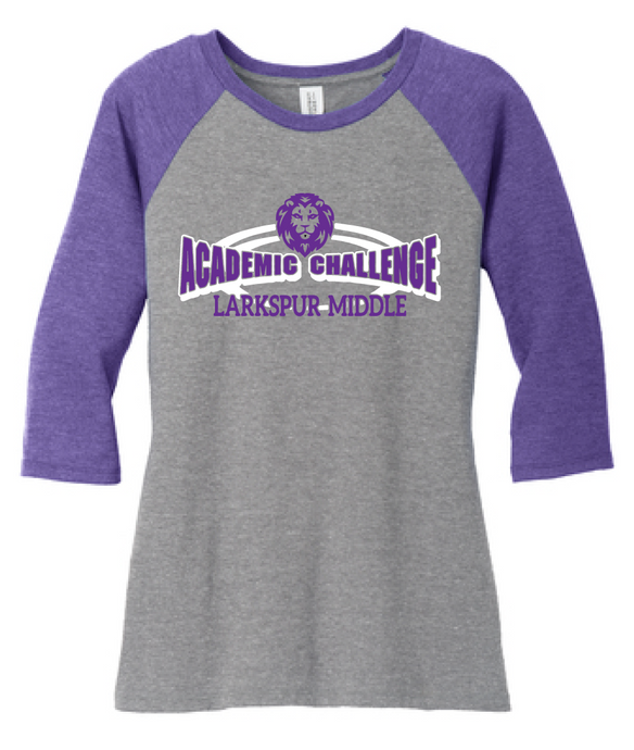 Tri-blend 3/4-Sleeve Raglan / Purple & Grey Frost / Larkspur Academic Challenge