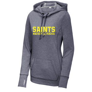 Ladies PosiCharge Tri-Blend Wicking Fleece Hooded Pullover/ True Navy Heather / Saints Field Hockey-[product_collection]