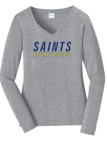 Ladies Long Sleeve softstyle V-Neck Tee / Gray / Saints-[product_collection]