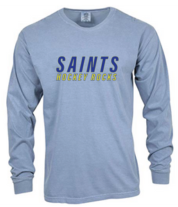 Comfort Colors Heavyweight Ring Spun Long Sleeve Tee / Chambray / Saints-[product_collection]