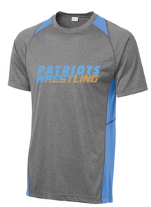 Colorblock Performance Short Sleeve Tee (Youth & Adult) / Vintage Heather & Blue / FC Wrestling