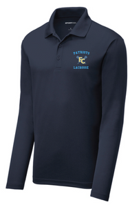Men's Long Sleeve Performance Polo / Navy / FC Lacrosse - Fidgety