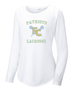 Ladies PosiCharge Long Sleeve Tri-Blend Wicking Scoop Neck Raglan Tee / White / FC Lacrosse - Fidgety