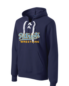 Lace Up Pullover Hooded Sweatshirt / Navy / FC Wrestling - Fidgety