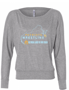 Flowy Long Sleeve Off Shoulder Tee / Heather Gray / FC Wrestling