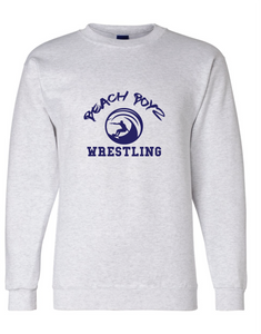 Fleece Crew Neck Sweatshirt / Ash Gray / Beach Boyz Wrestling
