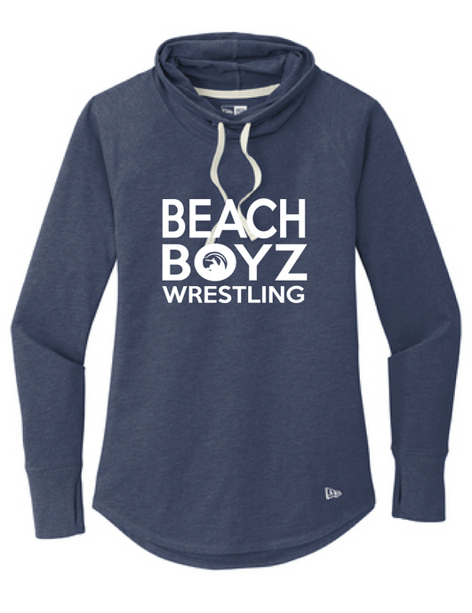 Ladies Sueded Cotton Blend Cowl Tee / Heather Navy / Beach Boyz