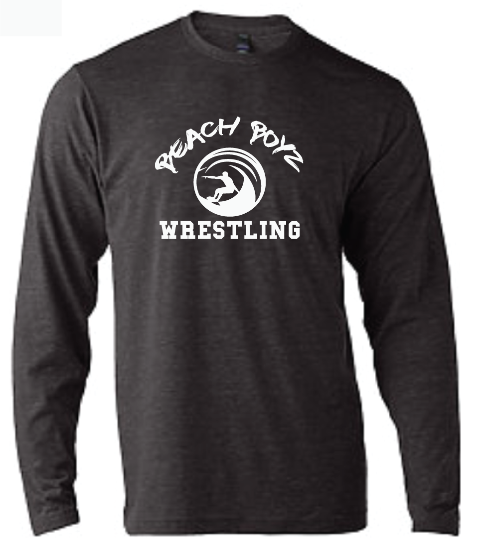 Long Sleeve Softstyle T-Shirt / Charcoal Gray / Beach Boyz Wrestling