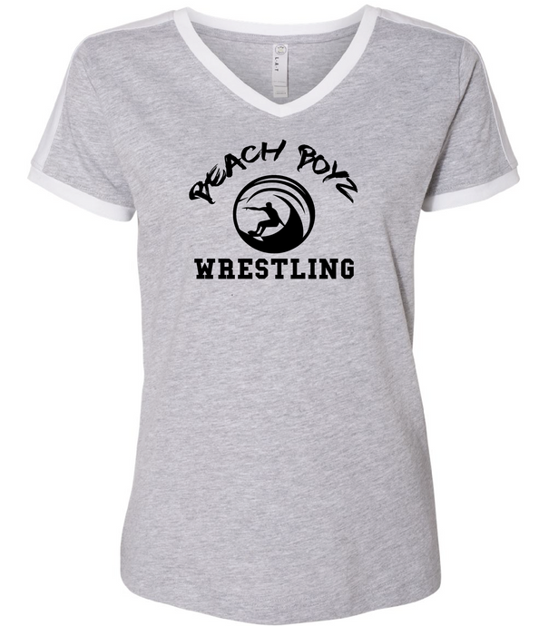 Women's V-Neck Jersey T-Shirt / Vintage Heather & White / Beach Boyz - Fidgety