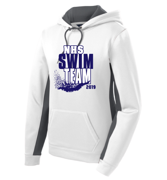 Sport-Wick Fleece Hooded Pullover / White & Gray / Norview Swim